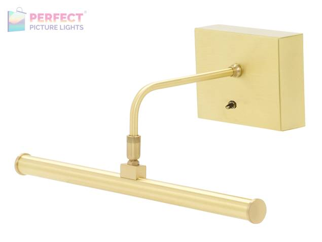"""Battery Operated Slim-LED 12"""" Satin Brass Picture Light"""