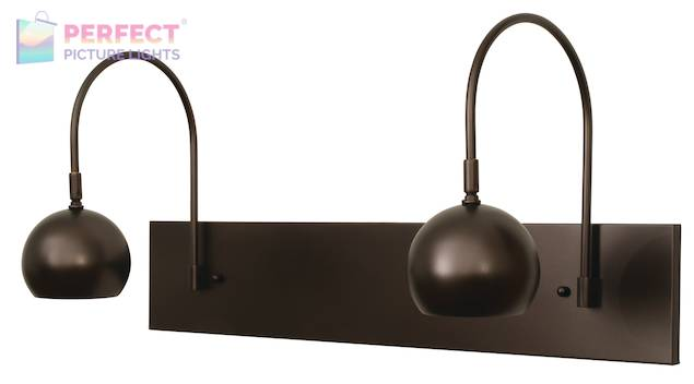 Direct Wire Halo double shade LED picture light in mahogany bronze